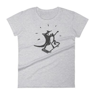 Pets In Tech Heather Grey / S iPhone Skater Cat - Women's short sleeve t-shirt