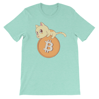 Pets In Tech Heather Mint / S Bitcoin Cat - Short-Sleeve Unisex T-Shirt