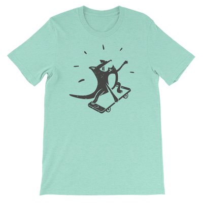 Pets In Tech Heather Mint / S iPhone Skater Cat - Short-Sleeve Unisex T-Shirt