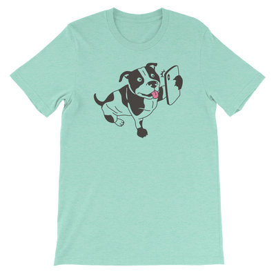 Pets In Tech Heather Mint / S Selfie Dog - Short-Sleeve Unisex T-Shirt
