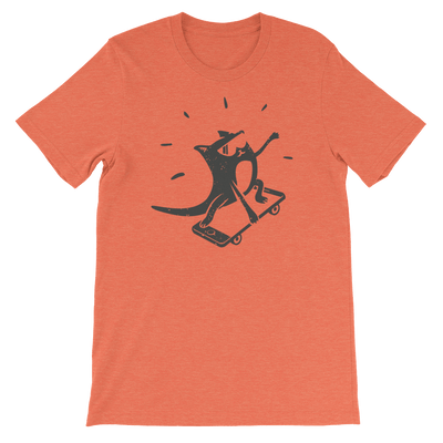 Pets In Tech Heather Orange / S iPhone Skater Cat - Short-Sleeve Unisex T-Shirt