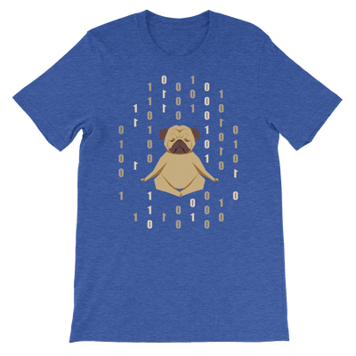 Pets In Tech Heather True Royal / S 1s 0s Meditating Pug - Short-Sleeve Unisex T-Shirt