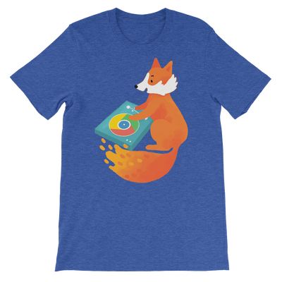 Pets In Tech Heather True Royal / S Chrome DJ Firefox - Short-Sleeve Unisex T-Shirt