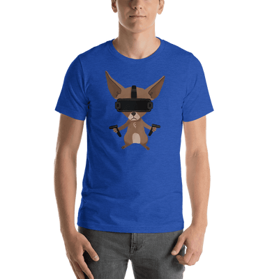 Pets In Tech Heather True Royal / S Virtual Reality Chihuahua - Short-Sleeve Unisex T-Shirt