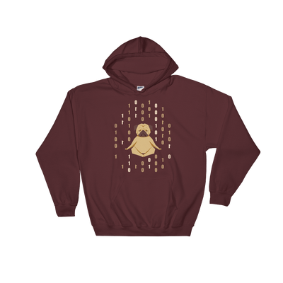 Pets In Tech Maroon / S 1s 0s Meditating Pug - Hoodie