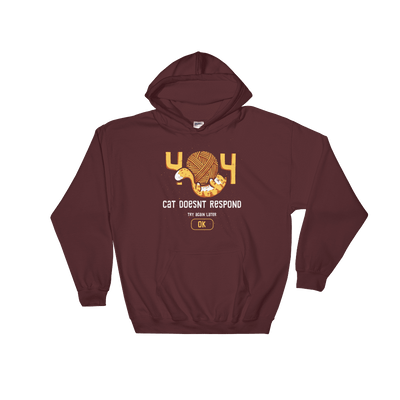 Pets In Tech Maroon / S 404 Cat Doesn't Respond - Hoodie