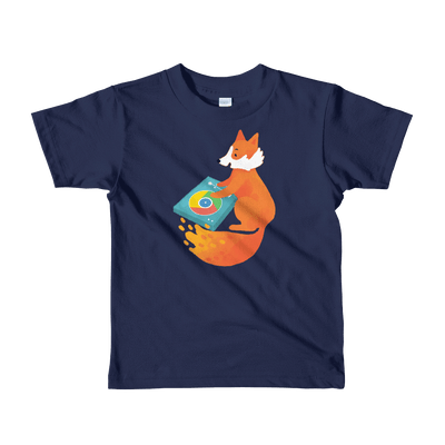 Pets In Tech Navy / 2yrs Chrome DJ Firefox - Short sleeve kids t-shirt