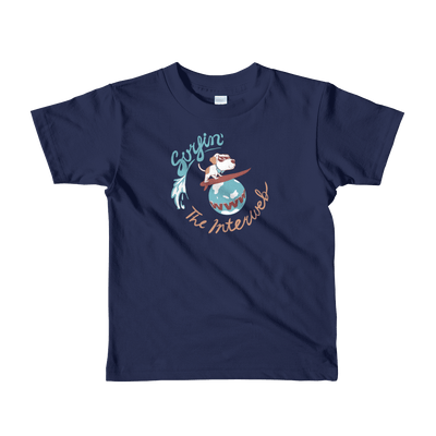 Pets In Tech Navy / 2yrs Surfin' the Interweb Puppy - Short sleeve kids t-shirt
