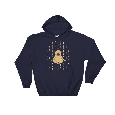 Pets In Tech Navy / S 1s 0s Meditating Pug - Hoodie