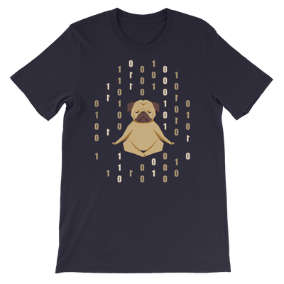 Pets In Tech Navy / S 1s 0s Meditating Pug - Short-Sleeve Unisex T-Shirt
