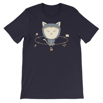 Pets In Tech Navy / S App Ninja Cat - Short-Sleeve Unisex T-Shirt