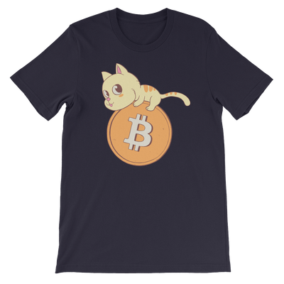 Pets In Tech Navy / S Bitcoin Cat - Short-Sleeve Unisex T-Shirt