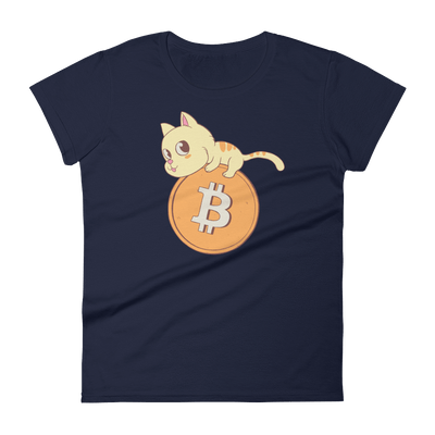 Pets In Tech Navy / S Bitcoin Cat - Women's short sleeve t-shirt