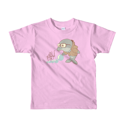 Pets In Tech Pink / 2yrs Bubble Sort Dolphin - Short sleeve kids t-shirt