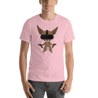 Pets In Tech Pink / S Virtual Reality Chihuahua - Short-Sleeve Unisex T-Shirt