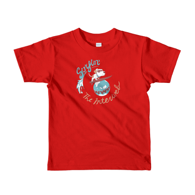 Pets In Tech Red / 2yrs Surfin' the Interweb Puppy - Short sleeve kids t-shirt