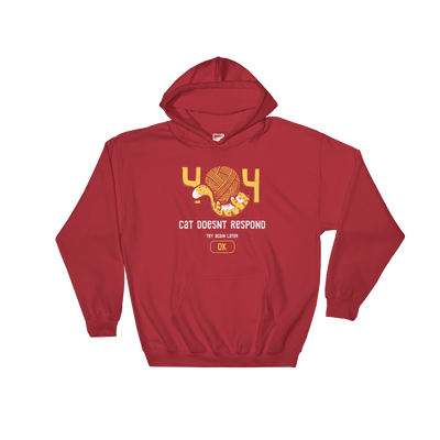Pets In Tech Red / S 404 Cat Doesn't Respond - Hoodie