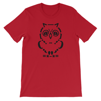 Pets In Tech Red / S Ascii Owl - Short-Sleeve Unisex T-Shirt