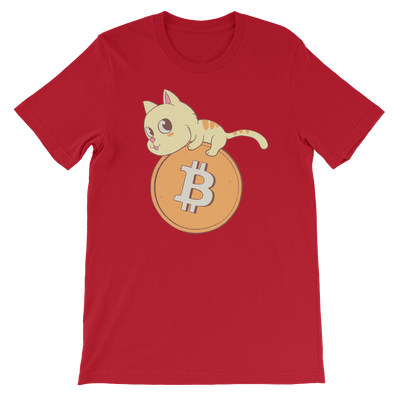 Pets In Tech Red / S Bitcoin Cat - Short-Sleeve Unisex T-Shirt