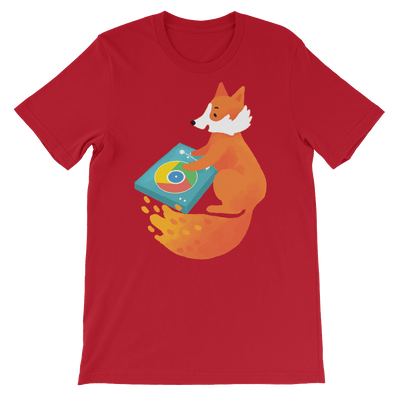 Pets In Tech Red / S Chrome DJ Firefox - Short-Sleeve Unisex T-Shirt
