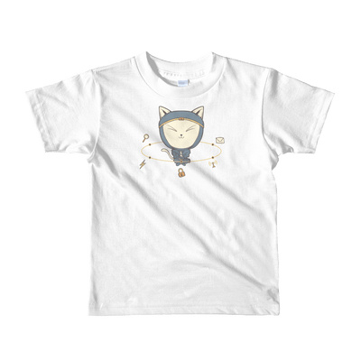 Pets In Tech White / 2yrs App Ninja Cat - Short sleeve kids t-shirt