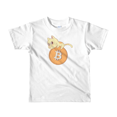 Pets In Tech White / 2yrs Bitcoin Cat - Short sleeve kids t-shirt