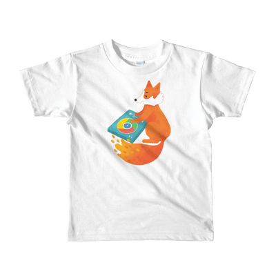 Pets In Tech White / 2yrs Chrome DJ Firefox - Short sleeve kids t-shirt