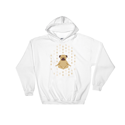 Pets In Tech White / S 1s 0s Meditating Pug - Hoodie