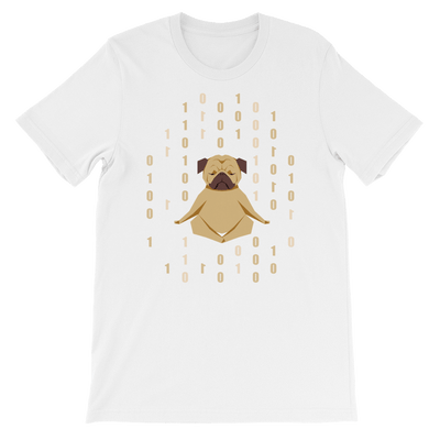 Pets In Tech White / S 1s 0s Meditating Pug - Short-Sleeve Unisex T-Shirt