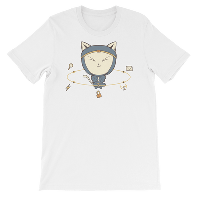 Pets In Tech White / S App Ninja Cat - Short-Sleeve Unisex T-Shirt