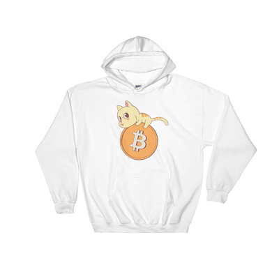 Pets In Tech White / S Bitcoin Cat - Hoodie