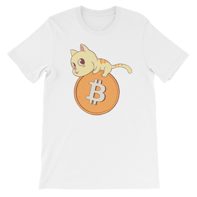 Pets In Tech White / S Bitcoin Cat - Short-Sleeve Unisex T-Shirt