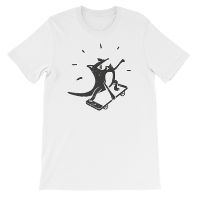 Pets In Tech White / S iPhone Skater Cat - Short-Sleeve Unisex T-Shirt