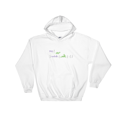 Pets In Tech White / S Try Catch Turtle Rabbit - Hoodie