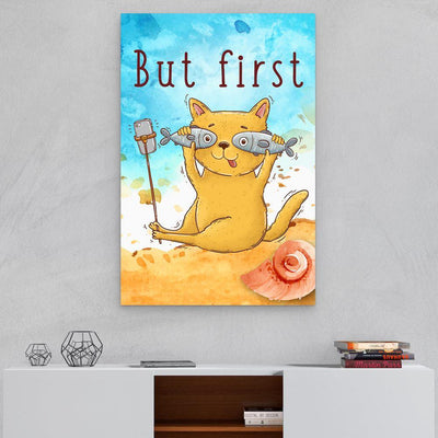 Selfie Cat With Two Fish - Canvas