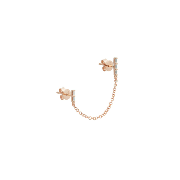 Diamond Double Baguette Stud Earring