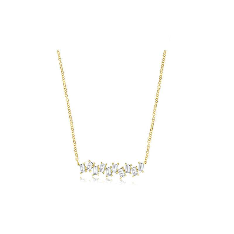 Diamond Dancing Baguette Necklace