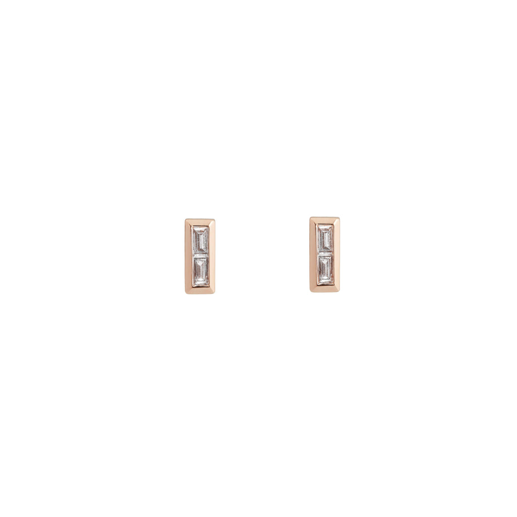 Diamond Baguette Stud Earrings