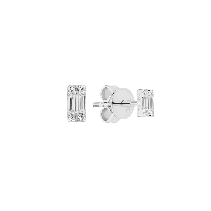Diamond Cluster Baguette Stud Earrings