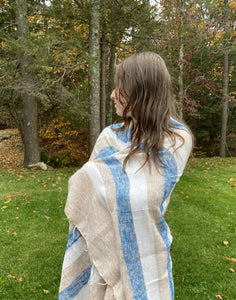 Blanket Wrap, Stripe Neutral Tan/Blue