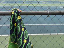 Tennis Towel, Tennis Racquets on Blue