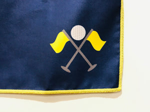 Golf Towel, Blue with Flags