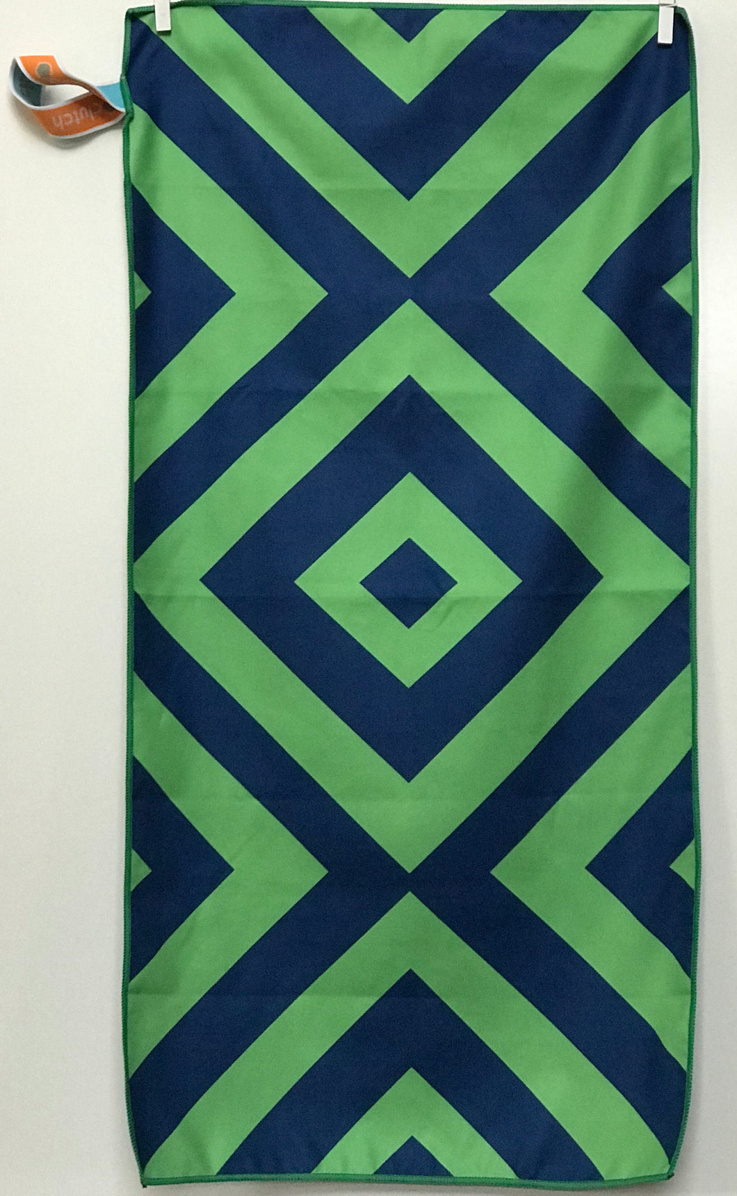 Sport Towel, Navy/Green Diamond