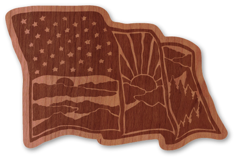 American Flag Intricate Etched