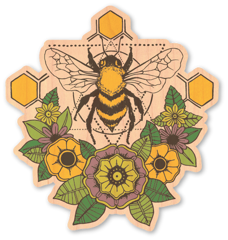 Geometric Bee with Flowers