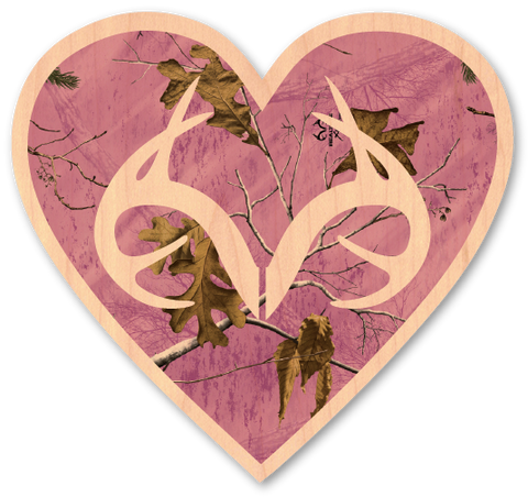 Pink Realtree Camo Heart