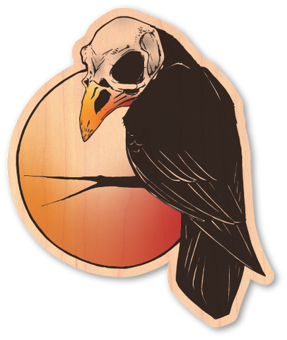 Color Raven With Skull On Branch