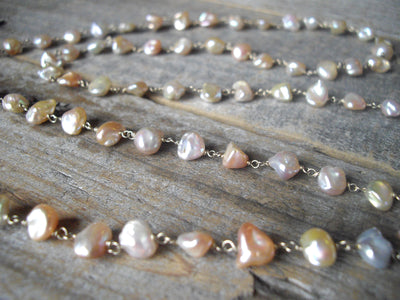 Keishi Pearl Necklace in 14k White Gold