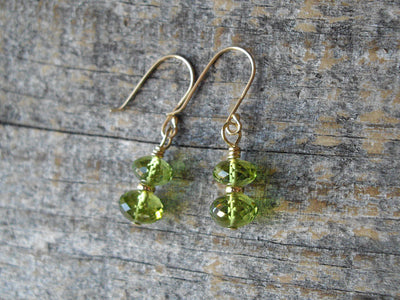 14k Gold Peridot Earrings