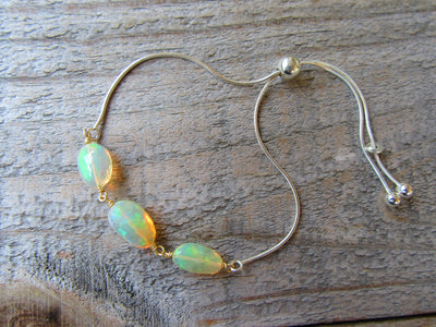 Adjustable Ethiopian Opal Bracelet in Sterling Silver